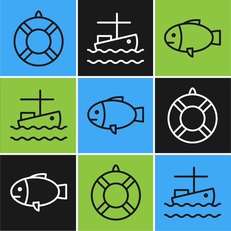 Set line Lifebuoy, Fish and Fishing boat on water icon. Vector