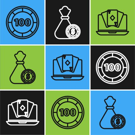 Set line Casino chips, Online poker table game and Money bag and casino chips icon. Vector Ilustrace