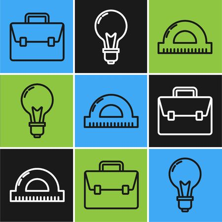 Set line Briefcase, Protractor grid for measuring degrees and Light bulb with concept of idea icon. Vector