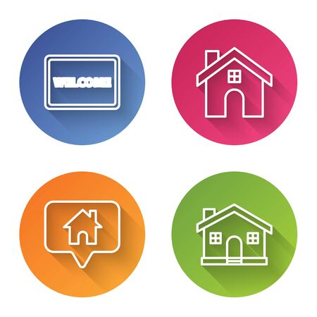 Set line Doormat with the text Welcome, House, Map pointer with house and House. Color circle button. Vector
