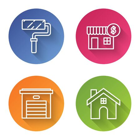 Set line Paint roller brush, House with dollar symbol, Garage and House. Color circle button. Vector