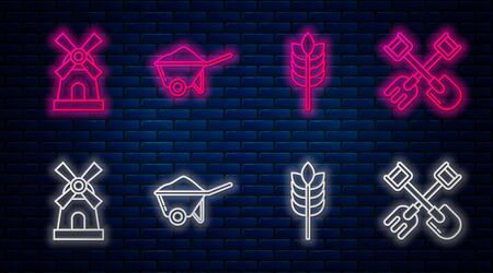 Set line Wheelbarrow with dirt, Cereals with rice, wheat, corn, oats, rye, Windmill and Shovel and rake. Glowing neon icon on brick wall. Vector
