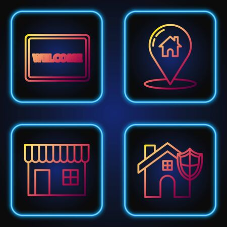 Set line House with shield, Shopping building or market store, Doormat with the text Welcome and Map pointer with house. Gradient color icons. Vector