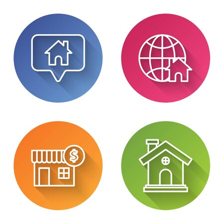 Set line Map pointer with house, Globe with house symbol, House with dollar symbol and House. Color circle button. Vector