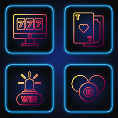 Set line Billiard pool snooker 8 ball, Casino win, Online slot machine with lucky sevens jackpot and Playing card with heart. Gradient color icons. Vector
