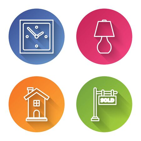 Set line Clock, Table lamp, Home symbol and Hanging sign with text Sold. Color circle button. Vector Ilustrace