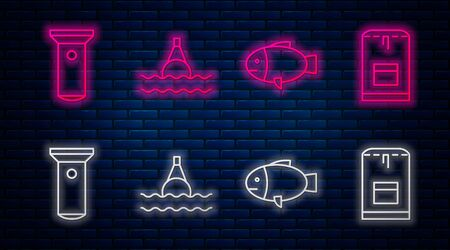 Set line Floating buoy on the sea, Fish, Flashlight and Backpack. Glowing neon icon on brick wall. Vector