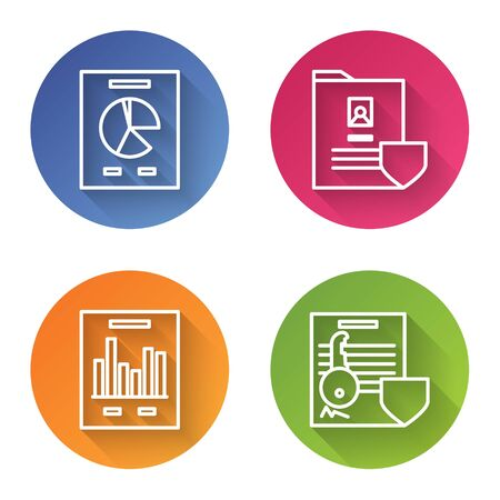 Set line Document with graph chart, Document with shield, Document with graph chart and Document with key with shield. Color circle button. Vector