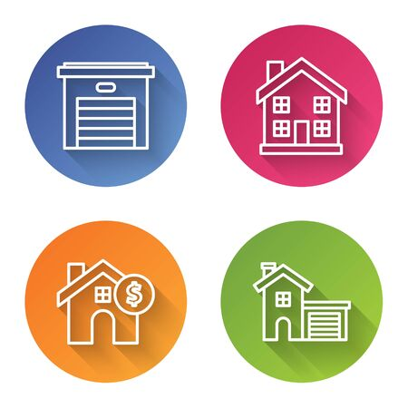 Set line Garage, Home symbol, House with dollar symbol and House. Color circle button. Vector