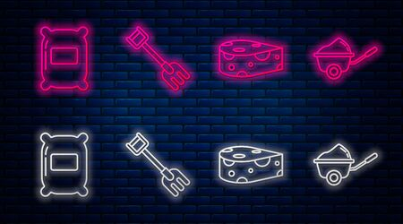 Set line Garden rake, Cheese, Bag of flour and Wheelbarrow with dirt. Glowing neon icon on brick wall. Vector