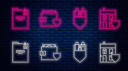 Set line Wallet and money with shield, Family insurance with shield, Personal folder and House with shield. Glowing neon icon on brick wall. Vector