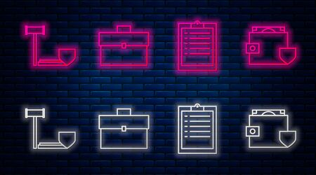 Set line Briefcase, Clipboard with checklist, Judge gavel with shield and Wallet and money with shield. Glowing neon icon on brick wall. Vector