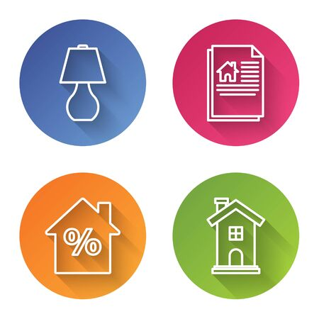 Set line Table lamp, House contract, House with percant discount tag and Home symbol. Color circle button. Vector