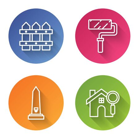 Set line Garden fence wooden, Paint roller brush, Washington monument and Search house. Color circle button. Vector Ilustrace