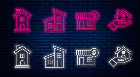 Set line House, House with dollar symbol, Home symbol and Realtor. Glowing neon icon on brick wall. Vector