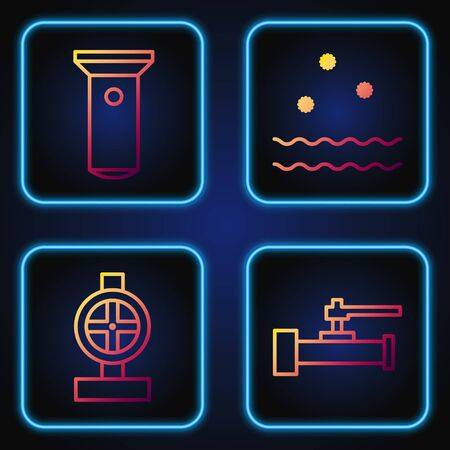 Set line Industry metallic pipes and valve, Industry metallic pipes and valve, Flashlight and Cold and waves. Gradient color icons. Vector