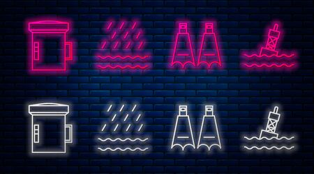 Set line Rain and waves, Rubber flippers for swimming, Big flashlight for diver and Floating buoy on the sea. Glowing neon icon on brick wall. Vector