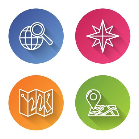 Set line Magnifying glass with globe, Wind rose, Folded map with location marker and Folded map with location marker. Color circle button. Vector Illustration