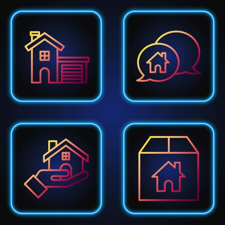 Set line Cardboard box with house, Realtor, House and House building in speech bubble. Gradient color icons. Vector