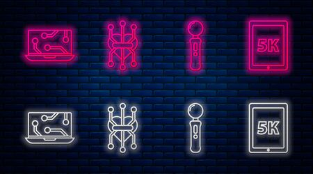 Set line Processor, Gamepad, Laptop and Tablet with text 5k. Glowing neon icon on brick wall. Vector