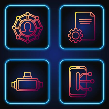 Set line Smartphone, mobile phone, Virtual reality glasses, Project team base and File document. Gradient color icons. Vector