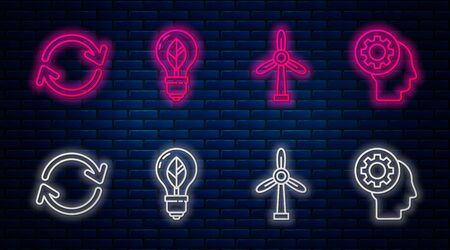 Set line Light bulb with leaf, Wind turbine, Refresh and Human head with gear inside. Glowing neon icon on brick wall. Vector 일러스트