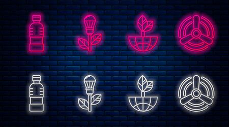 Set line Light bulb with leaf, Earth globe and leaf, Bottle of water and Wind turbine. Glowing neon icon on brick wall. Vector
