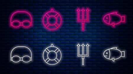 Set line Lifebuoy, Neptune Trident, Glasses and cap for swimming and Fish. Glowing neon icon on brick wall. Vector 矢量图像