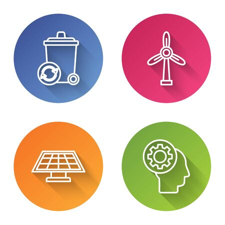 Set line Recycle bin with recycle symbol, Wind turbine, Solar energy panel and Human head with gear inside. Color circle button. Vector