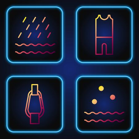 Set line Cold and waves, Carabiner, Rain and waves and Wetsuit for scuba diving. Gradient color icons. Vector