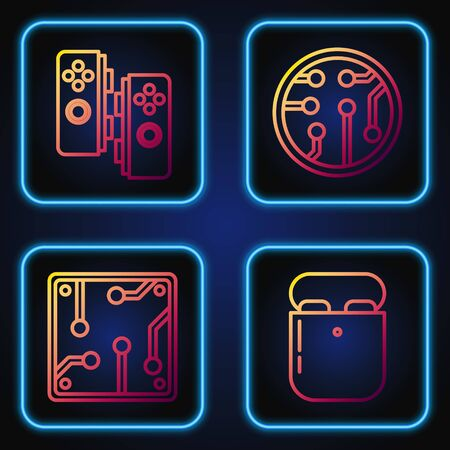Set line Air headphones in box, Processor, Gamepad and Processor. Gradient color icons. Vector