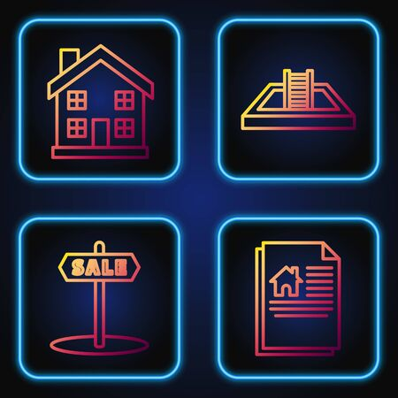Set line House contract, Hanging sign with text Sale, Home symbol and Swimming pool with ladder. Gradient color icons. Vector