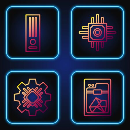 Set line 3D printer, Processor, Video game console and Processor. Gradient color icons. Vector