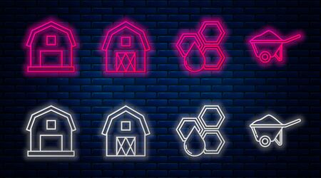 Set line Farm House concept, Honeycomb, Farm House concept and Wheelbarrow with dirt. Glowing neon icon on brick wall. Vector