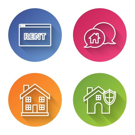 Set line Hanging sign with text Online Rent, House building in speech bubble, Home symbol and House with shield. Color circle button. Vector