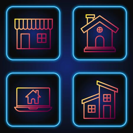 Set line House, Laptop and smart home, Shopping building or market store and House. Gradient color icons. Vector