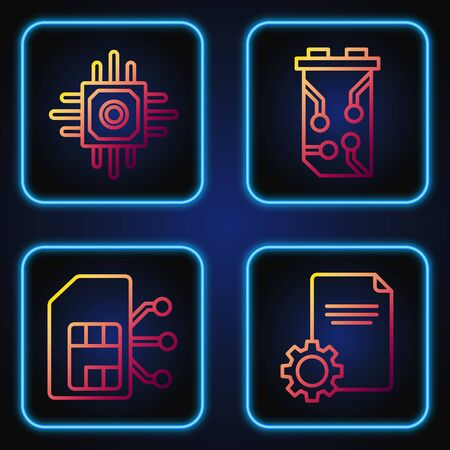 Set line File document, Sim card, Processor and Video graphic card. Gradient color icons. Vector