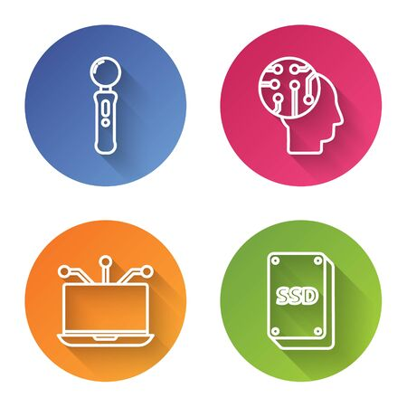 Set line Gamepad, Human brain as digital circuit board, Laptop and SSD card. Color circle button. Vector Illustration