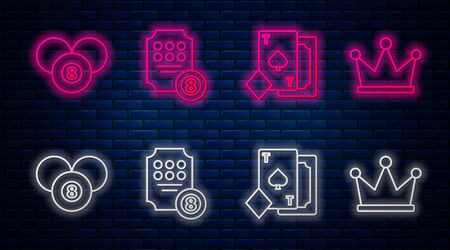 Set line Online slot machine, Playing card with spades, Billiard pool snooker 8 ball and Crown. Glowing neon icon on brick wall. Vector