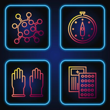 Set line Pills in blister pack, Rubber gloves, Bacteria and Compass. Gradient color icons. Vector Illustration