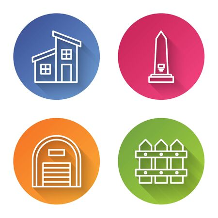 Set line House, Washington monument, Warehouse and Garden fence wooden. Color circle button. Vector