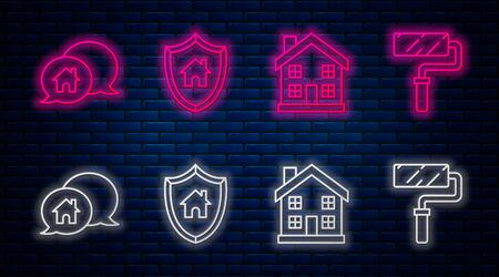 Set line House with shield, Home symbol, House building in speech bubble and Paint roller brush. Glowing neon icon on brick wall. Vector Ilustrace