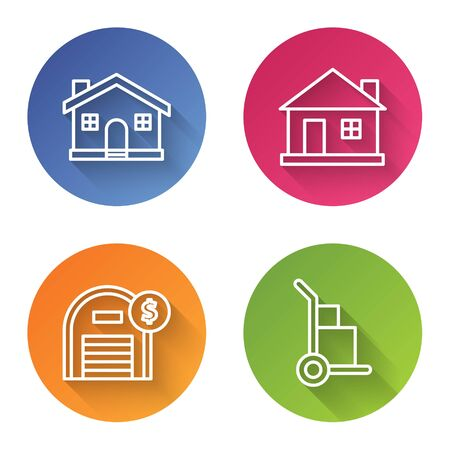 Set line House, House, Warehouse with dollar symbol and Hand truck and boxes. Color circle button. Vector