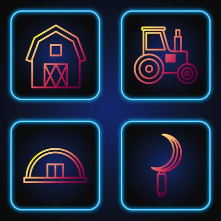 Set line Sickle, Hangar, Farm House concept and Tractor. Gradient color icons. Vector