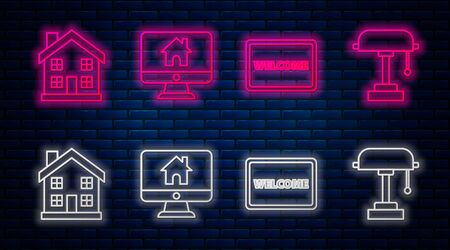 Set line Computer monitor with smart home, Doormat with the text Welcome, Home symbol and Table lamp. Glowing neon icon on brick wall. Vector Ilustrace