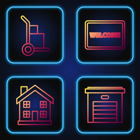 Set line Garage, Home symbol, Hand truck and boxes and Doormat with the text Welcome. Gradient color icons. Vector