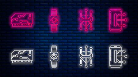 Set line Smartwatch, Processor, RAM, random access memory and Smartphone, mobile phone. Glowing neon icon on brick wall. Vector