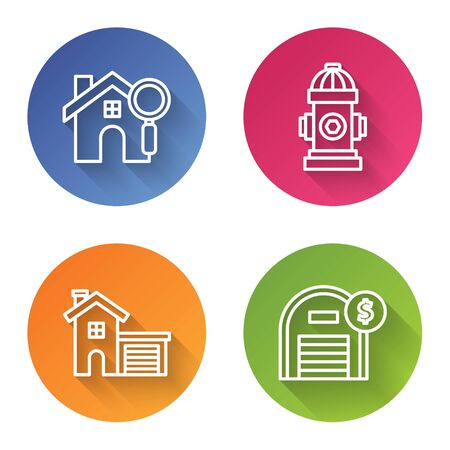 Set line Search house, Fire hydrant, House and Warehouse with dollar symbol. Color circle button. Vector Ilustrace