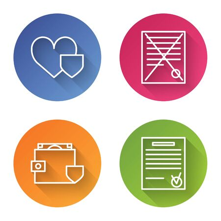 Set line Heart with shield, Delete file document, Wallet and money with shield and Confirmed document and check mark. Color circle button. Vector