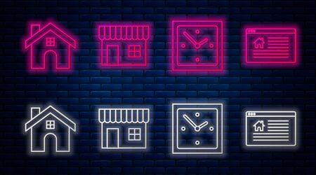 Set line Shopping building or market store, Clock, House and Hanging sign with text Online Sale. Glowing neon icon on brick wall. Vector